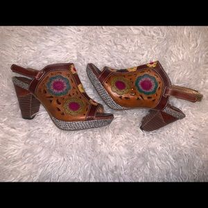 Brown pink yellow leather sandals 7 37 lartiste